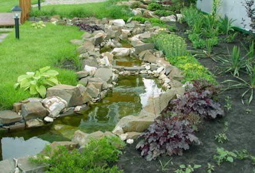 Маленький ручей в саду